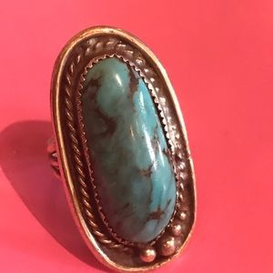 Vintage Navajo turquoise silver ring tribal Aztec